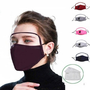 US STOCK 2 In 1 Face Mask With Eye Shield Dustproof Washable Cotton Valve Mask Cycling Reusable Face Mask Protective Face Shield