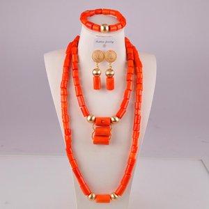 coral rojo de la joyería de la boda natural de Nigeria coral perlas africanas sistemas de la joyería de coral perlas para las mujeres T200507