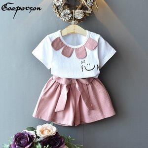 Gooporson verano ropa de niños Collar de la flor linda Topbow cortos Niñas lindas ropa determinada niños de la manera Trajes