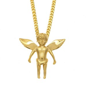 Mens Hip Hop Necklace Gold Stainless Steel Baby Angle Pendant Necklaces Cuban Link Chain Mens Jewelry