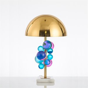 Modern Colorful Crystal Ball Table Lamp LED Marble Base Bedside Living Room Dining Room Desk Light TA016