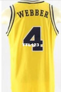 Vintage # 4 Michigan State Chris Webber Unsigned jaune de haute qualité broderie College Jersey SZ S-XXXL ou sur mesure tout maillot de nom ou le numéro