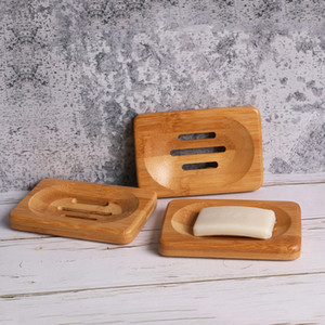 Natural Bamboo Wood Soap Dish Storage Holder Bathroom Round Drain Soap Box Rectangular Square Eco-Friendly Wooden Soap Tray Holder KHA329