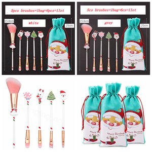 Christmas Makeup Brushes Set Kit Beautiful Professional Make Up Tool With Drawstring Santa Claus Print Bag Xmas Gift favor 6pcs lot FFA3317A