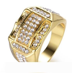 Gold Rhinestone Ring mens ring hip hop jewelry luxury diamond Zircon ring Full Gemstones Wedding Band fashion Jewelry nd