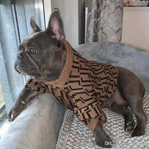 Vintage Letter Jacquard Pet Sweaters Autumn Winter Outdoor Warm Dog Apparel Casual Teddy Bulldog Schnauzer Sweatshirts