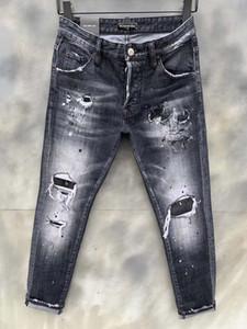 DSQ فانتوم السلاحف الكلاسيكية أزياء الرجل جينز الهيب هوب روك موتو رجل عارضة تصميم ممزق جينز المتعثرة نحيل الدينيم السائق DSQ جينز 6135