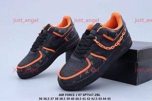 Nike Air Force 1 x Louis Vuitton personalizada Time Low salida de aire Una utilidad Naranja Negro Los hombres los zapatos corrientes de las zapatillas de deporte de las