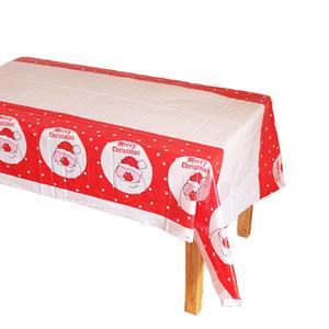 Desechables de plástico PE Mantel las decoraciones del árbol de navidad del muñeco de Santa Claus Rectangular mantel de cocina Mesa de comedor Cubiertas DH0297