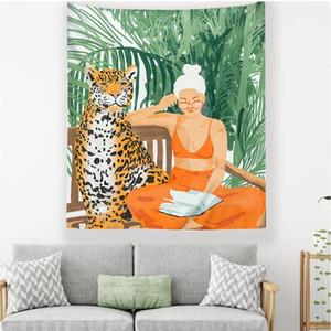 sitio de la muchacha pared dormitorio de la universidad de tela que cuelga de verano tropical moderno tapiz decorativo mural tenture