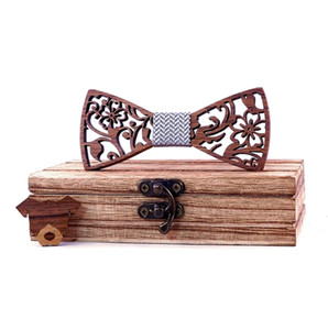 Apparel Accessories Men Boys Tie Wooden Bow Tie Kids Bowties Butterfly Cravat Wood Graduation Ties bowknot With Dog Brooch