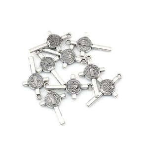 200Pcs Antique silver gold Benedict Medal Cross Crucifix Charms Pendants DIY Jewelry Fit Bracelet Necklace Christmas gift 13x23mm