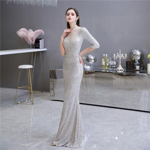 Luxury Lace Sequins Beads Evening Dress High Neck Half Sleeves Mermaid Prom Gown robe de soiree Custom Made