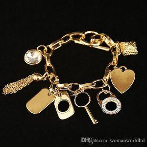 2019 caldi braccialetti chiave della lega con la gemma del cuore di amore 925 gioielli in argento sterling placcato oro o pendenti di fascino del braccialetto dei braccialetti per gli uomini donne