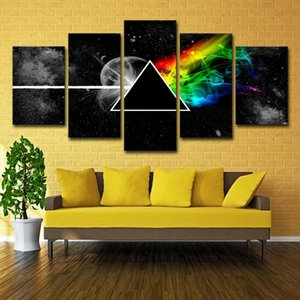 5 Panels Pink Freud Rock Music Modern Abstract Wall Art Oil Painting Set Pictures for Living Room Canvas Art Poster Prints Home Decor