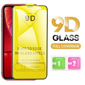 9D pleine couverture en verre trempé Film de protection écran pour iPhone XS MAX X XR 8 7 6 Plus Samsung A40 A50 A7 2018