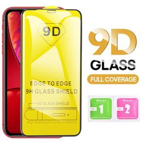 9D Tam Kapak temperli cam Ekran Koruyucu Film iPhone XS MAX X XR 8 7 6 Plus Samsung A40 A50 A7 2018