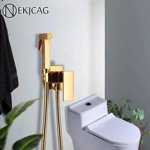 Gold Brass Bathroom Bidet Faucet rose gold High Pressure bidet sprayer high quality toilet washer bidet wall mounted Cold faucet T200710