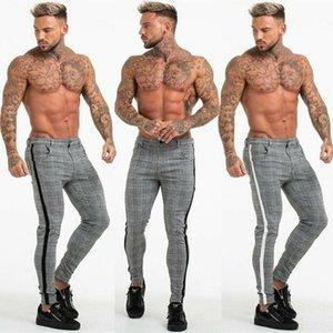 Mens Slim Fit Calças Trainning Exercício Calças Verifique Calça Casual Joggers Tartan Jogging Skinny Bottoms
