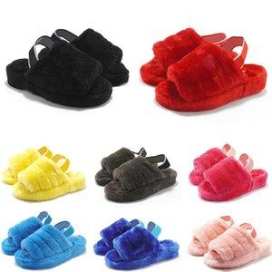 Australia bebés pelusa sí deslizante para mujer zapatillas de invierno moda casual zapatilla de pelusa mujeres mullidas peludos de imitación de piel diapositivas sandalias de visón C09S #
