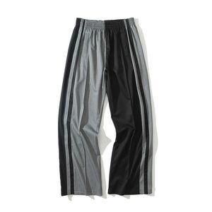 Pantaloni a gamba larga Pantaloni Uomo Side Split Uomo a righe rappezzatura pantaloni per uomo