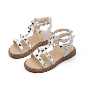 SKHEK Hot Baby Girl Sandals Fashion Girls Summer Gladiator Shoes With Bow Kids Flat Sandals Size 21-36 Y200619
