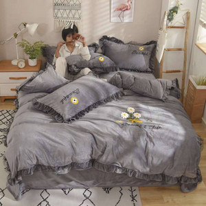 3 IN 1 Floral Fitted Bed Skirt Cover Graceful Bedspread Skin Sheet Friendly Cotton Quilt Cover Bedding Supplies 150 x 200cm