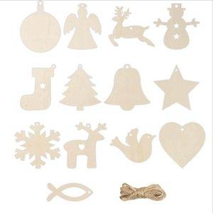 10PCS set Christmas Home decoration wood chip Christmas tree ornaments hanging DIY pendant Xmas festival party supplies 13 style