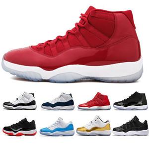 Mens Jordan Retro 11 11s dos homens de basquete Concord 23 New Bred boné e um vestido jam espaço prata metálico formadores Mens Sports sapatilhas 5.5-13