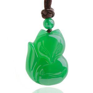 Agate Pendant Cute White Agate Green Jade Pendant Necklace Lucky Amulet Auspicious Pendants Men Women Jade Jewelry