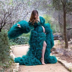 Dark Verde Grávida Mulheres Prom Vestido Bathrobe Nightgown Rufflesbathrobe Sleepwear Robe Nupcial Noite Dos Vestidos De Partido Cape Manto