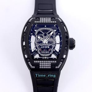 Mejor Edición RM52-01 Esqueleto Dial Movimiento RM52-01 del reloj para hombre correa de caucho Negro caja de acero de Japón Miyota automático diseñador relojes deportivos