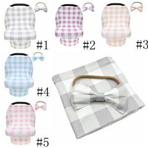 Couverture de siège à carreaux bébé standard caisson de cuve de cuisson avec bowbands à cheveux baby-costile couvre-lait maternel couvre-lait maternel couvre-allaitement lsk249