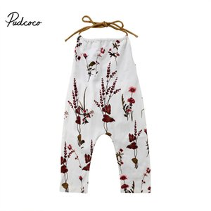 Pudcoco Printed Floral Kids Baby Girl Rompers Toddler Girls Romper Jumpsuit Summer Backless Baby Clothes Rompers White 0-4T T200727