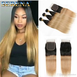 Ombre Weave Bundle With Closure Malaysian Virgin Hair Ombre Human Hair Extensions 2 Tone 1B 27# Queen Ombre Straight Hair 3 Bundles