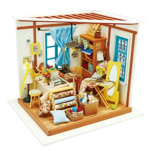 Robotime DIY Doll House Lisa's Tailor Children Adult Miniature Wooden Dollhouse Model Building Kits Educational Toys DG101 MX200414