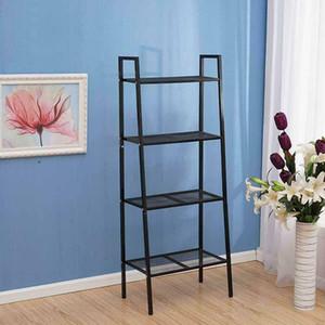 4 Nivel inclinada escalera estante estantes bookcase unidad de almacenamiento Organizador