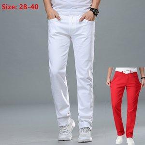 Мужские джинсы белые мужчины плюс размер 36 38 40 свободных негабаритных красных брюк натянутые джинсовые мужские повседневные тонкие подходят прямые упругие мужские брюки