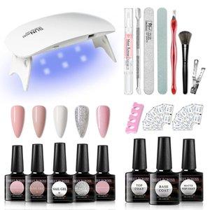 MEET ACROSS Nail set 6W UV LED LAMP for Manicure Gel Nail Polish Base Top Coat Kit Gel Varnish Manicure Sets Art Tool