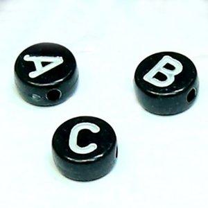 4X7mm 편원 편지 비즈 여성과 어린이의 보석 액세서리 옵션 아크릴 편지 구슬 (26 개) 하나의 문자