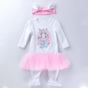Baby Girl Clothes Easter Infant Girls Dress Romper Headband 2pcs Sets Cartoon Newborn Jumpsuits Boutique Baby Clothing DW5023