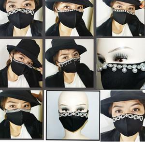 Yetişkin siyah ağız Şık Yüz resuable Pırıltılı İnciler Rhinestones Bling pamuk yüz maskeleri Maske maske LJJK2411