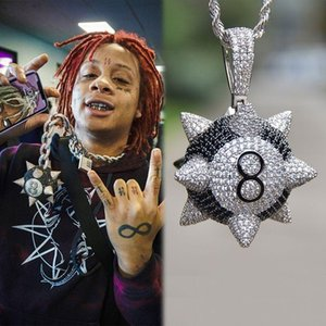 Gold Cubic Zirconia Mens Cartoon Black 8 Meteor Hammer Star Pendant Necklace Personalized Full Diamond Hiphop Rapper Jewelry Gifts for Men