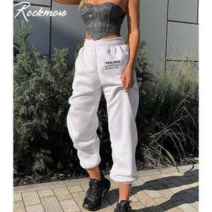 Rockmores Brief gedruckt Stretch Pants Damen Baggy Jogginghose Taschen Harajuku koreanischen Bleistift-Hosen mit hoher Taille und Jogger Gelegenheits