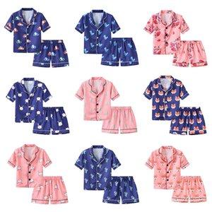 Sommerkinder Simulation Seidenpyjamas dünne nette gedruckte Nachtwäsche kurzärmelige Shorts Nachtwäsche Cartoon Hauptkleidung zweiteiliger Anzug M1516