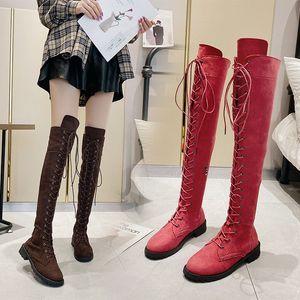PUPUDA Rodilla Botas Las mujeres los zapatos de moda casual femenino de la tendencia Mujeres Botas 2020
