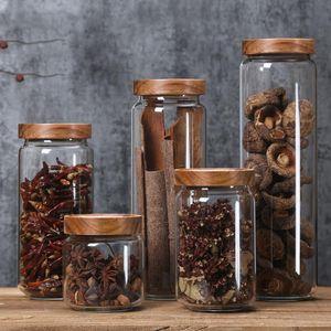 Couvercle en bois en verre étanche à l'air Canister Cuisine Flacons en bocaux alimentaires Grains Container thé grains de café Grains bonbons contenants Jar