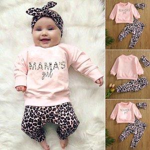 abbigliamento TELOTUNY bambini della neonata del bambino sveglio della Lettera a maniche lunghe Stampa tshirt Top Pantaloni Leopard Fasce Abiti Set Luglio