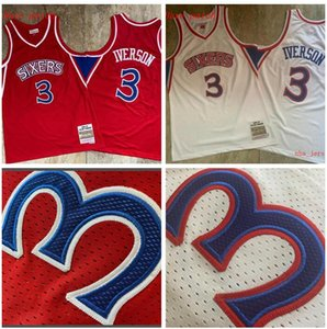 Herren-Basketball Philadelphia76ers3 AllenIverson Mitchell Ness 1996-1997 roter und weißer Swingman Jersey und kurze Hose 01