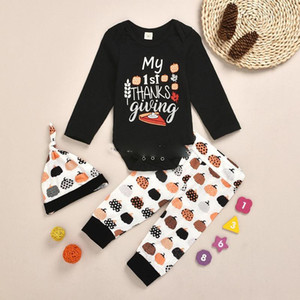 Halloween Clothes Newborn Clothing Set Infant Boy Girls Letter Pumpkin Romper + Pumpkin Print Pants + Hats 3pcs set Cute Baby Outfits